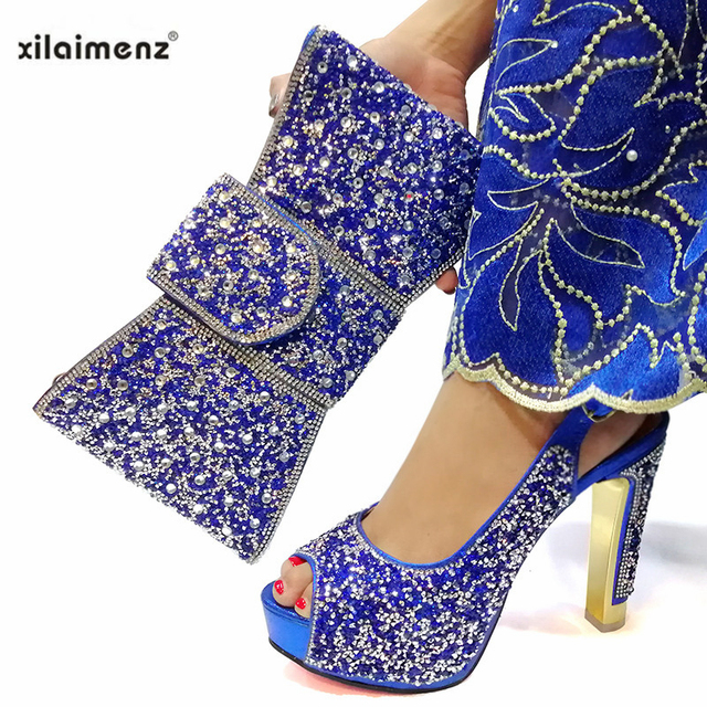 2019 Hot Selling Shoes Matching Bags Set Italian Women's Party Shoes and Bag Sets in Silver Women High Sandals And Handbag