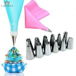 1 unidad de glaseado de silicona, bolsa de repostería + 12 Uds., boquilla de acero inoxidable, convertidor de puntas, herramientas de decoración de pasteles DIY