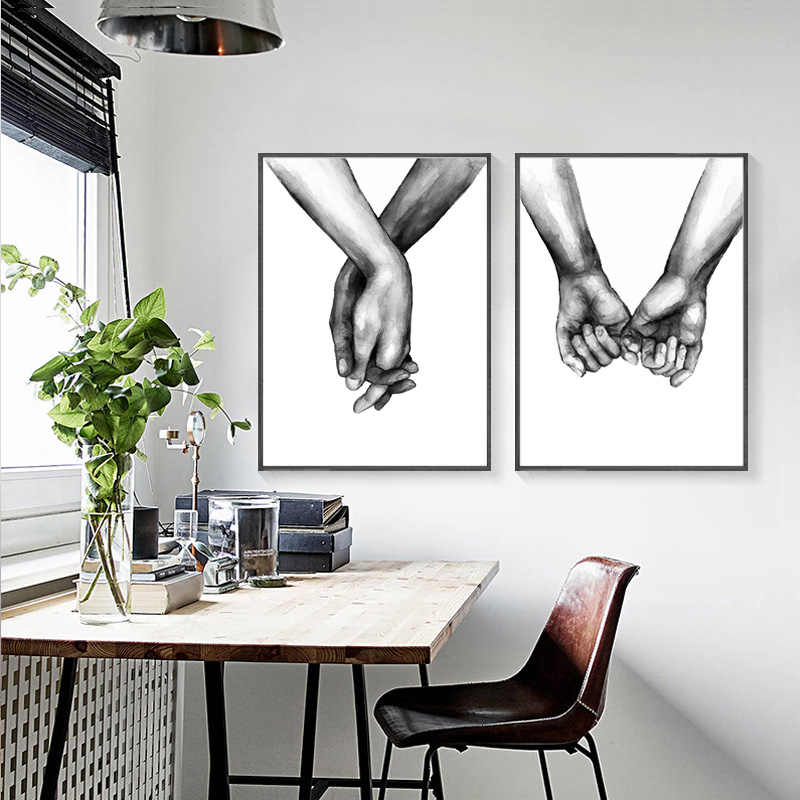Nordic Poster Black And White Holding Hands Canvas Prints Lover Quote Wall Pictures For Living Room Minimalist Decor Unframed