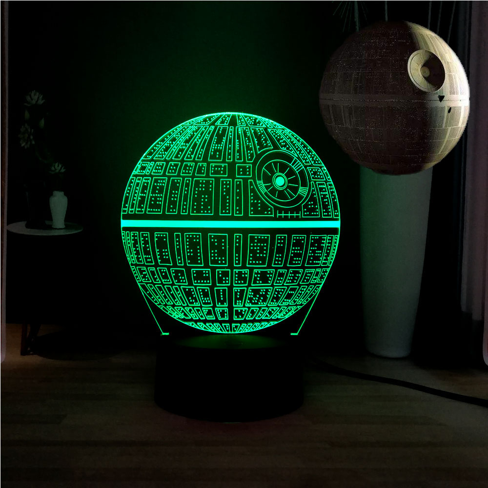 New Illusion 3D Star Wars Novel Death Star 7 Color Dec Mood LED USB Acrylic Bedside Table Lamp Kids Birthday Gift Drop Shipping image