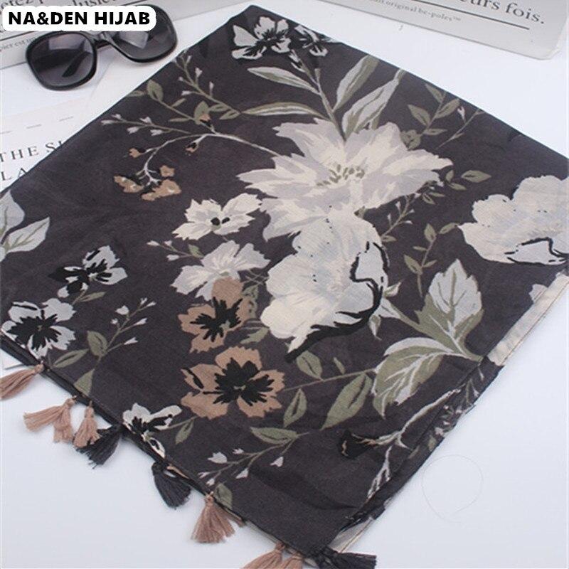 2019 women soft scarf flower pattern shawl tassel fashion classics islamic hijab scarfs popular scarves shawls