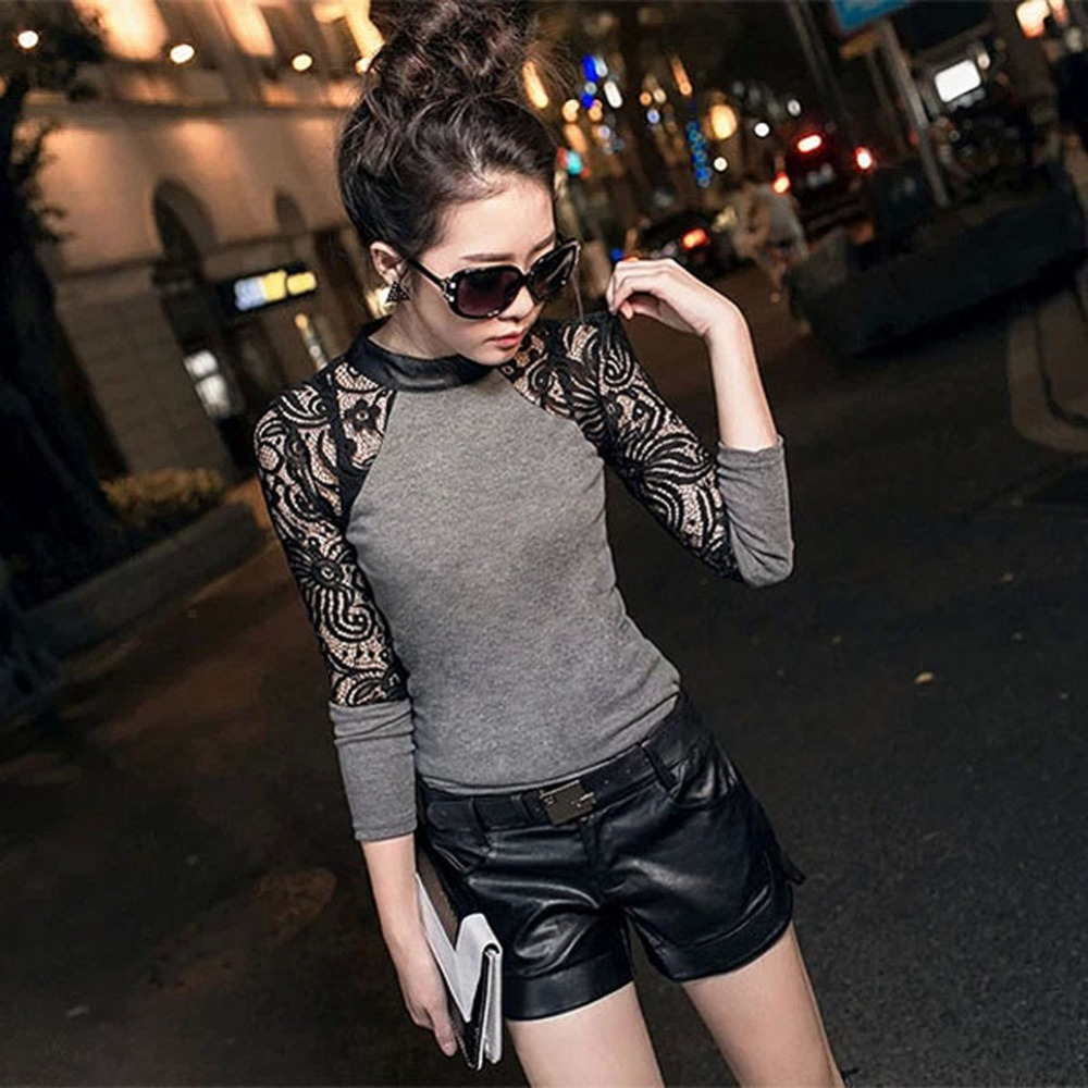 Women Long Sleeve Lace T-shirt Slim Knitwear Leather Crew Neck Knitted Tops Black, Gray S M L XL XXL