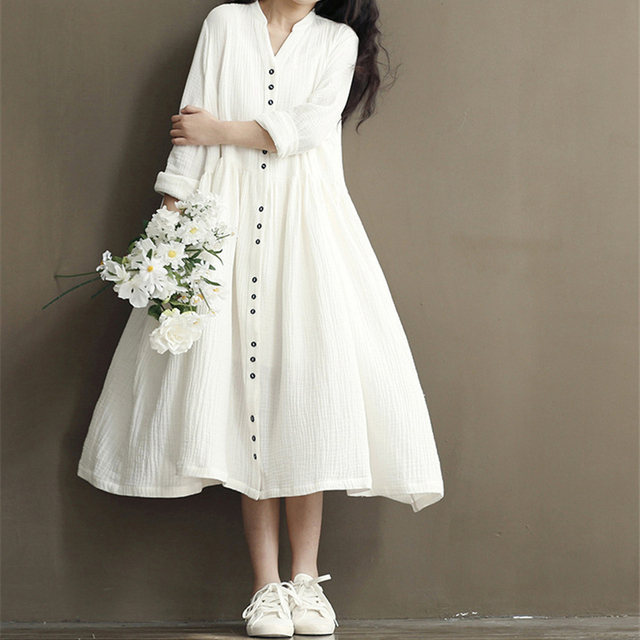 Johnature Cotton Linen White Color Women Dress 2018 Spring New Long Sleeve Stand Neck Loose Bat