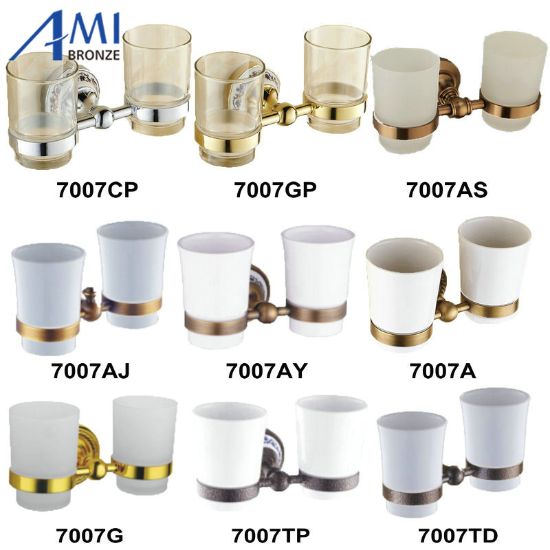 ФОТО Chrome/Gold/Antique Cup & Tumbler Toothbrush Holder Porcelain Wall Mounted Bathroom Accessories  7007