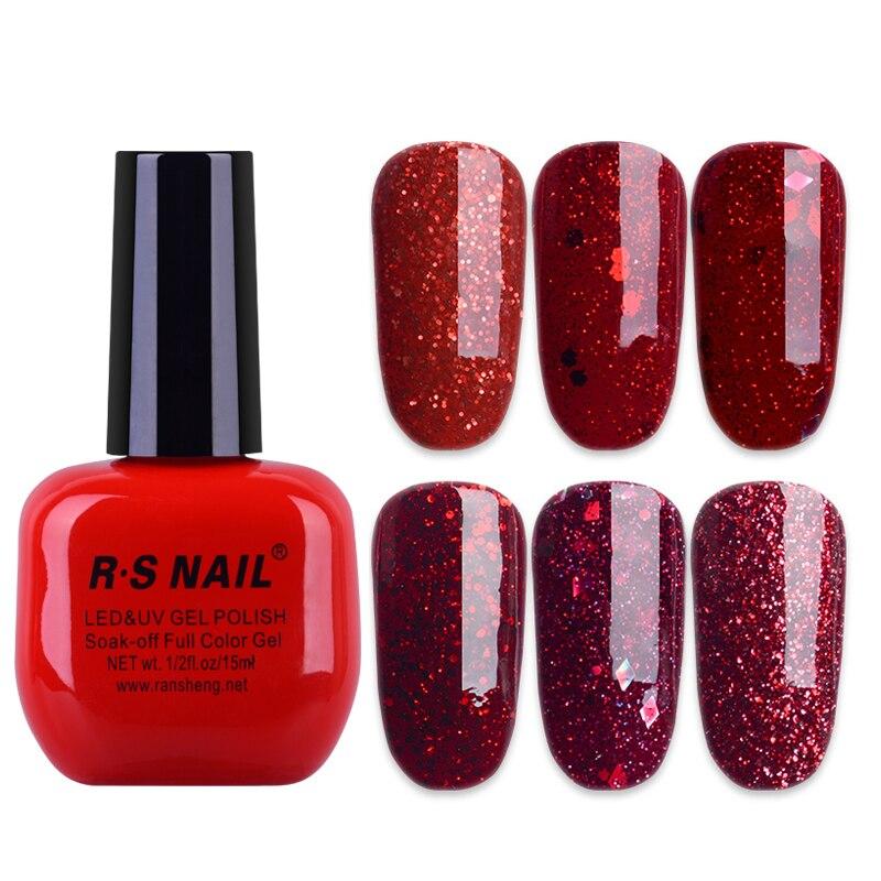 Rs Nail: RS Nail 15ml Uv Color Gel Nail Polish Red Glitter Sparkles