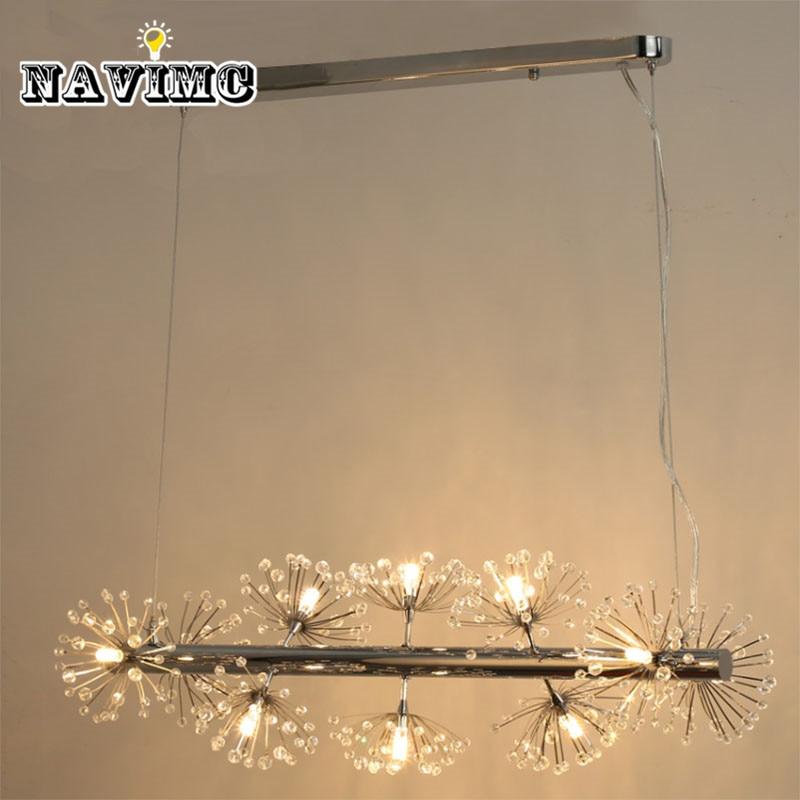 Cotemporary White Spiral Dandelion Crystal LED Pendant Light for Living Room Dining Room office Cafe Lamp dandelion print dining mat