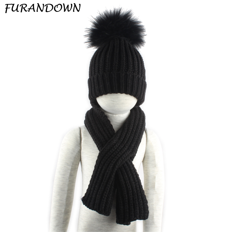 3-10 Age Children Real Fur Pompom Winter Warm Hats For Boys Girls Pom Pom Beanie And Scarf Cotton Knitted Baby Hat Scarf Set