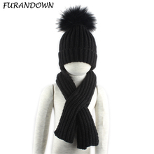 3-10 age Children Real Fur Pompom Winter Warm Hats For Boys Girls Pom Pom Beanie and scarf Cotton Knitted Baby Hat Scarf Set недорого