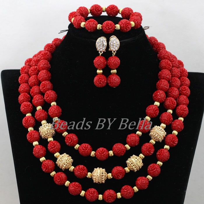 New Design Nigerian Wedding Necklace High Quality Jewellery Set Red