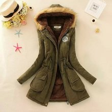 Hot Parkas Women Coats Spring Autumn Women Jackets Women Fur Collar Long Parka Plus Size Hoodies Cotton Outwear Winter Warm coat