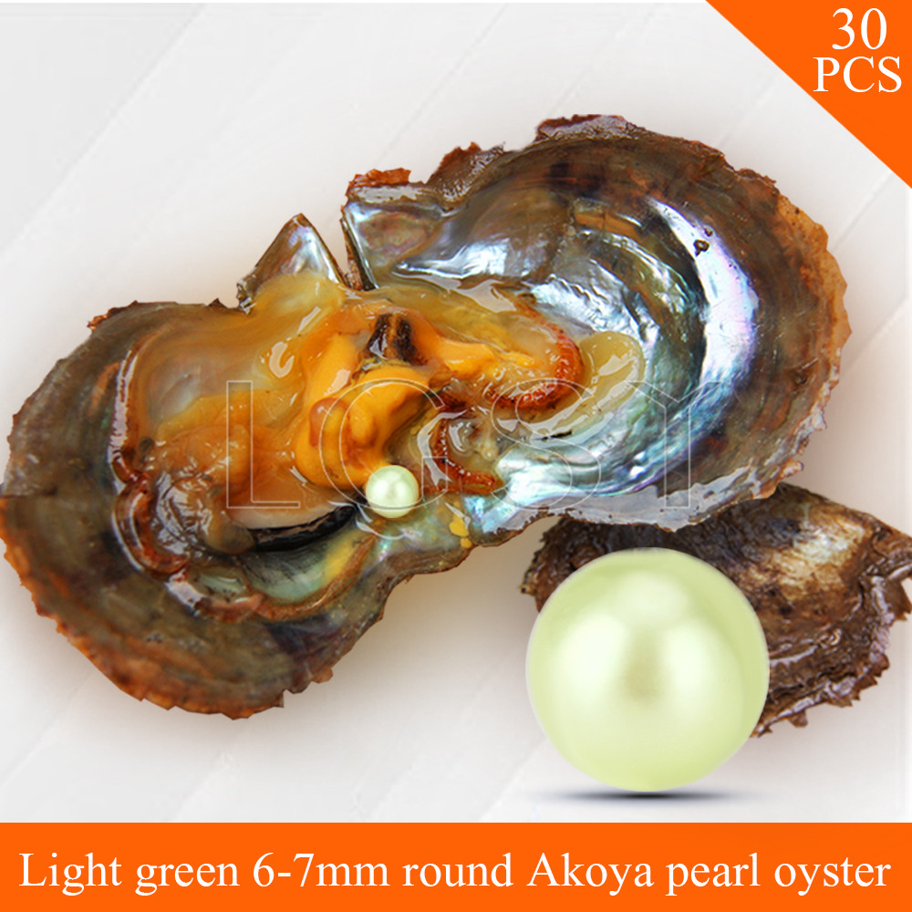 Bead wholesale Light Green pearls 30pcs vacuum-packed oysters with 6-7mm round akoya pearls , UPS free shipping cluci free shipping get 40 pearls from 20pcs 6 7mm aaa blue round akoya oysters twins pearls in one oysters