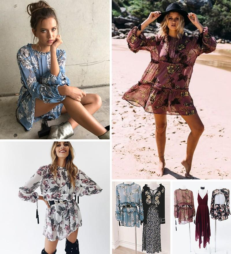 women dress Autumn winter long sleeve ruffle chiffon dress Vintage loose short dress Boho floral print tassel vestidos 4