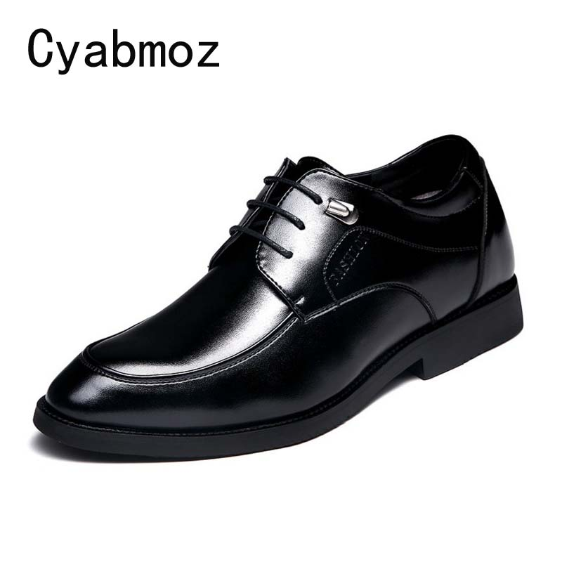 Cyabmoz Men Fashion Height Increase Elevator Shoes 6 cm Invisibly Heel for Party Wedding Daily Business Dress Oxfords Men Shoes fashion skull print mens top leather dress shoes designer elevator wedding shoes for men business oxfords chaussure homme