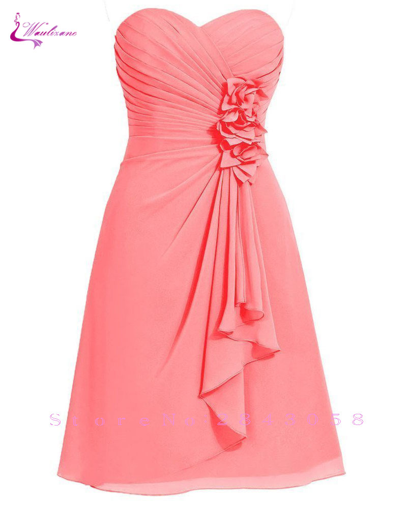 Waulizane Elegant Sweetheart A-Line   Prom     Dresses   Chiffon Strapless Lace Up Sleeveless Formal   Dresses   12 colors avaliable