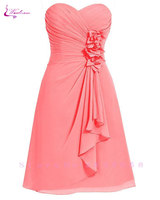 Waulizane Elegant Sweetheart A Line Prom Dresses Chiffon Strapless Lace Up Sleeveless Formal Dresses 12 Colors