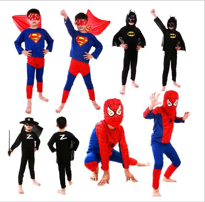 kids superhero capes anime cosplay carnival costume Red spiderman black batman superman halloween costumes