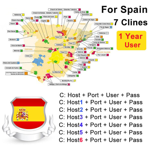 2018 Spain Portugal Cccam Valid 12month AM 7Clines Stable channels For V8 Super DVB-S2 Satellite Receiver V7HD V8 Finder