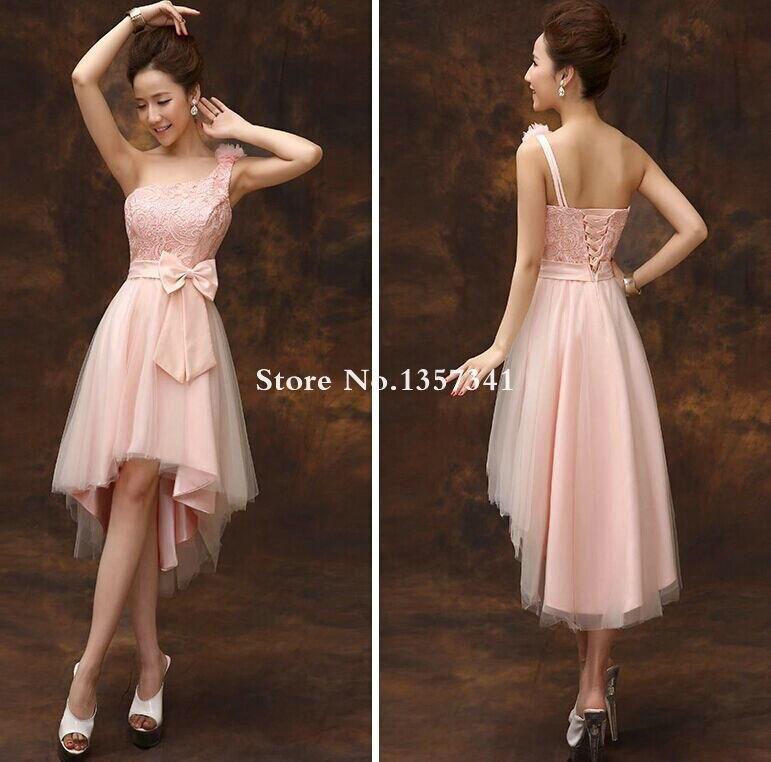 High Low Blush Pink Bridesmaid Dresses