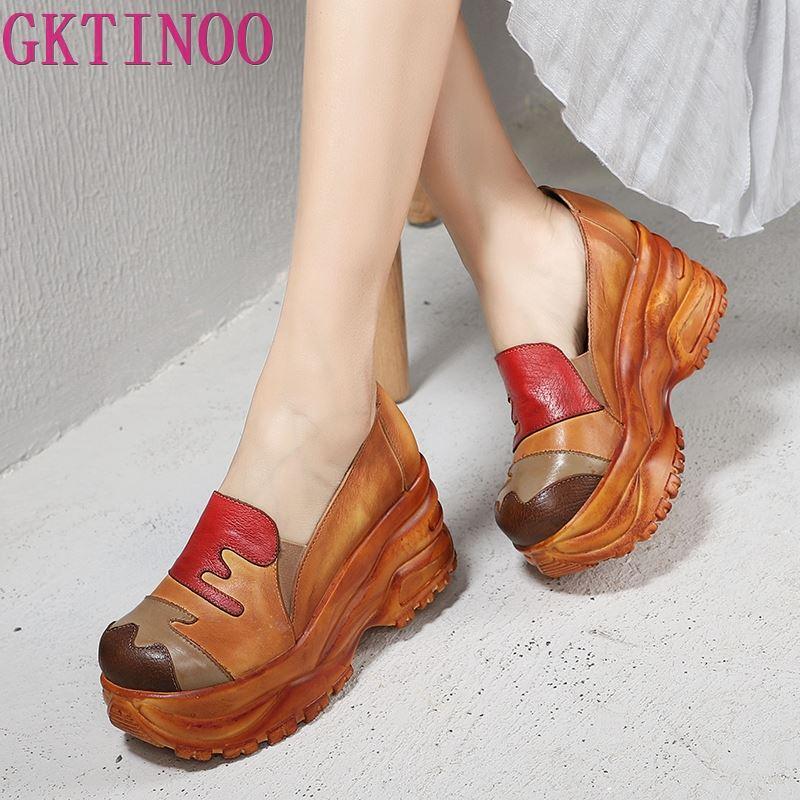 Women Pumps Shoes 2019 Multi color Hand Painted Patchwork Female High Platform Heel Shoes Genuine Leather