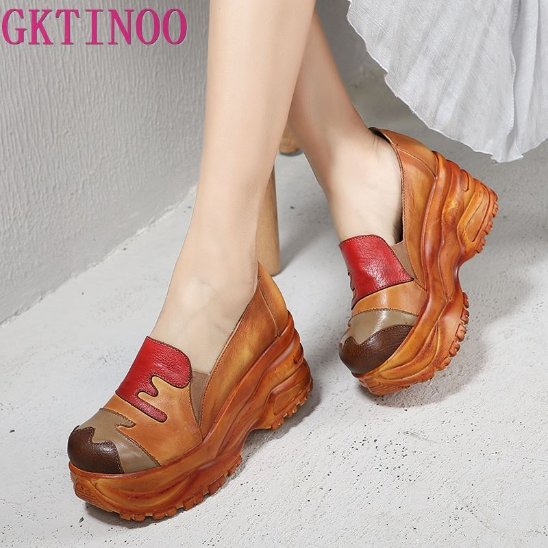 Femmes pompes chaussures 2019 multicolore peint à la main Patchwork femme haute plate forme chaussures à talons en cuir véritable dames chaussures à semelles compensées-in Escarpins femme from Chaussures    1