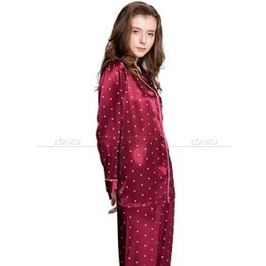Image 4 - Ensemble pyjama en Satin de soie pour femmes, pyjama S,M, L, XL, 2XL, 3XL, vêtements de nuit Plus