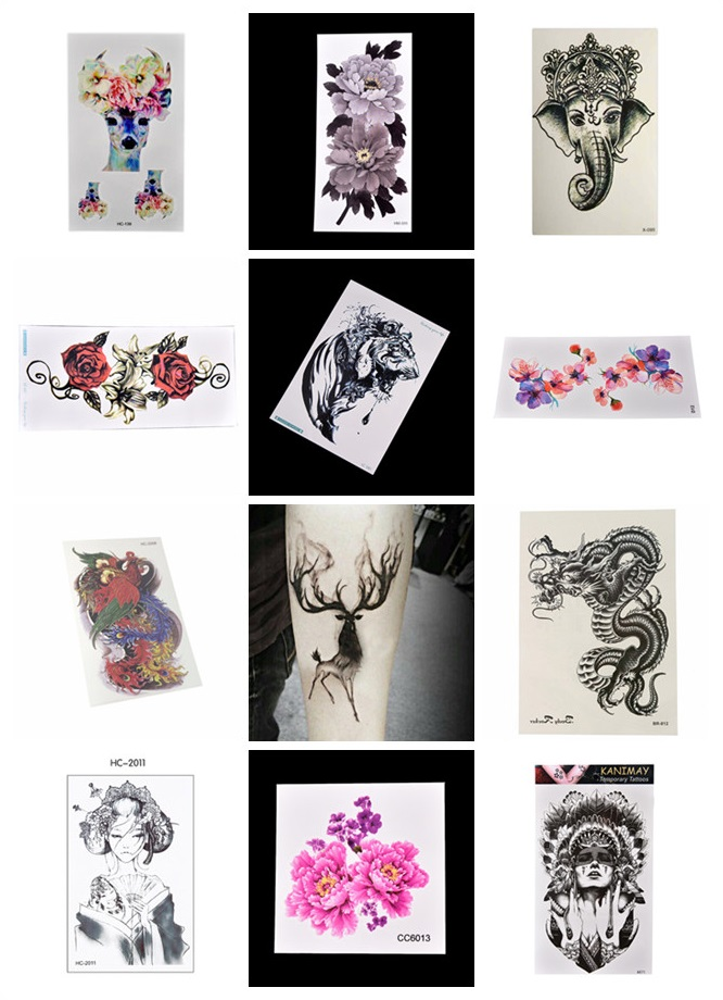 Flower/Aniaml Transfer Tattoo Stickers Women Men Body Art
