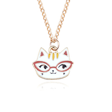 New Fashion Cartoon Cat Necklace Pendant Cute Golden Enamel White Animal Chain Necklace Women Personality Pet Jewelry Gift equte spew23c3 lovely kitty cat s eye pendant necklace golden white 30