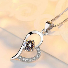 Korean version of 925 silver pendant with love in heart fashion amethyst heart-shaped pendant simple crystal недорого