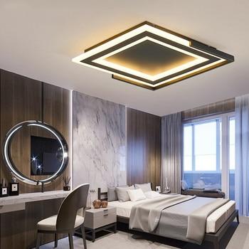 Lámparas de Techo de Metal con luz de Techo Led modernas para sala de  estar, comedor, superficie cuadrada, luces Led negras