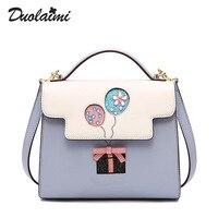 Duolaimi Brand Lock Letter Printing Blue Handbags Hot Sale Ladies Evening Purse Women Cute Clutch Party