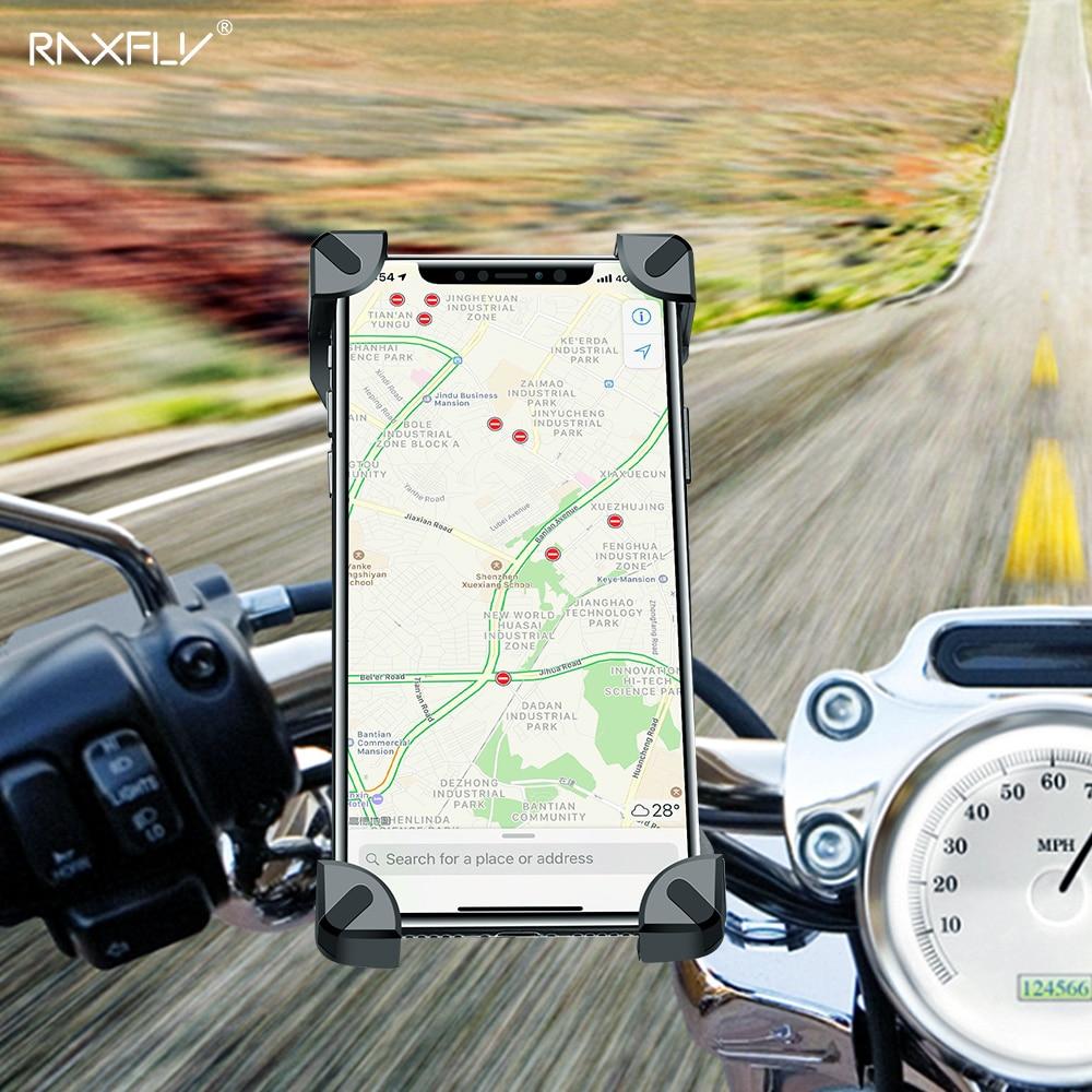 Raxfly titular do telefone da bicicleta para iphone samsung motocicleta celular móvel titular guiador clipe suporte de montagem gps