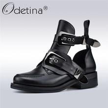 Odetina Spring Autumn New Fashion Women Ankle Boots Punk Buckle Strap Chunky Heels Round Toe Hollow Out Women Boots Big Size 41