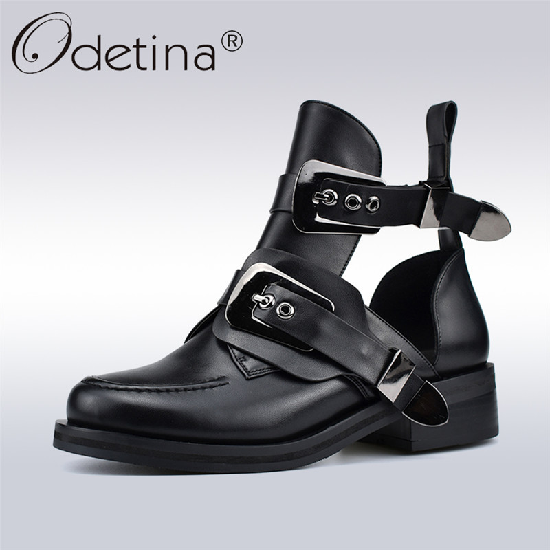Odetina Spring Autumn New Fashion Women Ankle Boots Punk Buc