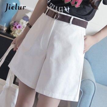 Jielur Shorts All-match 4 Solid Color Sashes Casual Shorts Women A-line High Waist Slim Short Femme Chic S-XXL Ladies Bottom 8