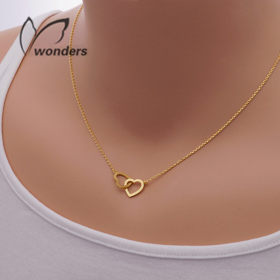 Dainty Entwined Double Heart Charm Necklace Pendant Stainless Steel