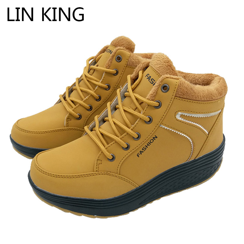 LIN KING Wedges Women Winter Boots Swing Shoes Lace Up Warm Fur Platform Casual Shoes Cotton Padded Woman Elevator Snow Shoes