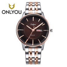 ONLYOU Watch Women Leisure Fashion Lover Watch Week Display Wristwatch Men Waterproof Quartz Watches Relojes mujer Men Male