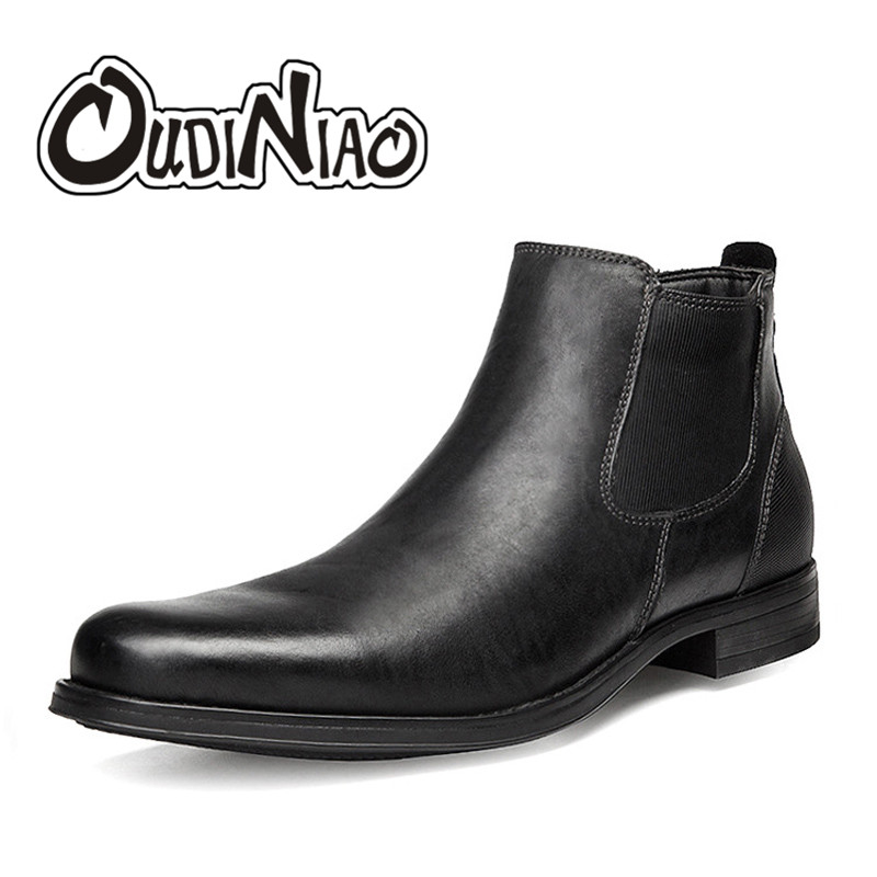 OUDINIAO Fashion Classic Pointed Toe Warm Short Plush Chelsea Ankle Men Boots Zip Designer Fashion Winter Boots Men Black Brown oudiniao classic split leather pointed toe warm plush ankle men boots buckle lace up designer fashion winter boots men big size