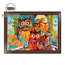 FineTime Animals 5D DIY Diamond Painting Partial Round Drill Diamond Embroidery Owls Cross Stitch Mosaic Painting finetime 5d christmas cat diy animals diamond painting partial round drill diamond embroidery mosaic cross stitch