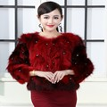 Real genuine natural raccoon fur coat  women's fashion  o-neck with diamond outwear