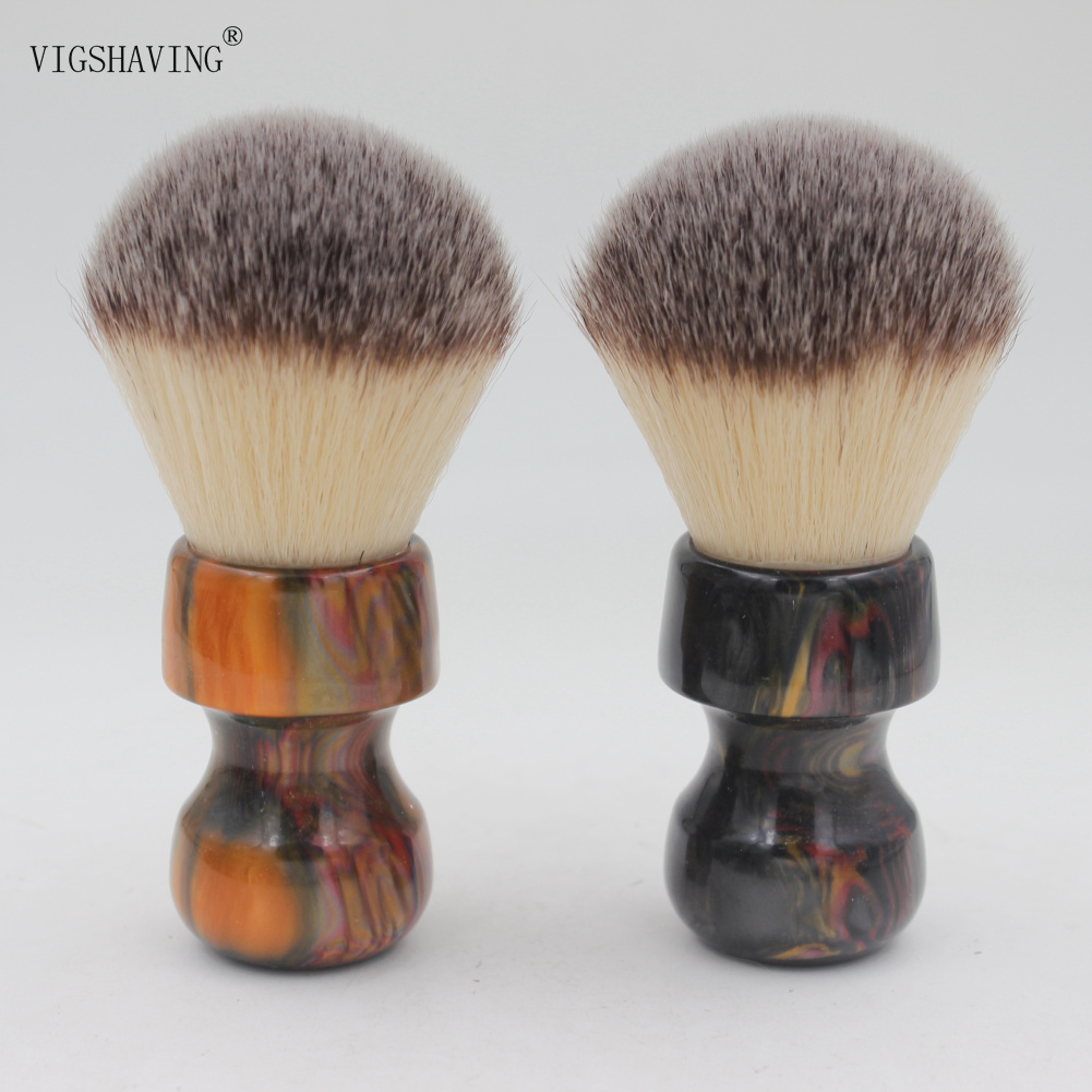 VIGSHAVING New Arrival 28mm Knot Colorful Resin Handle Synthetic Hair Shaving Brush