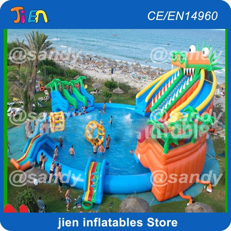 Aufblasbare Wasser Spielplatz Park Billiger Preis Aufblasbare Wasserpark Schwimm Insel Lustige Rasen-, Wasserrutschen, Pools