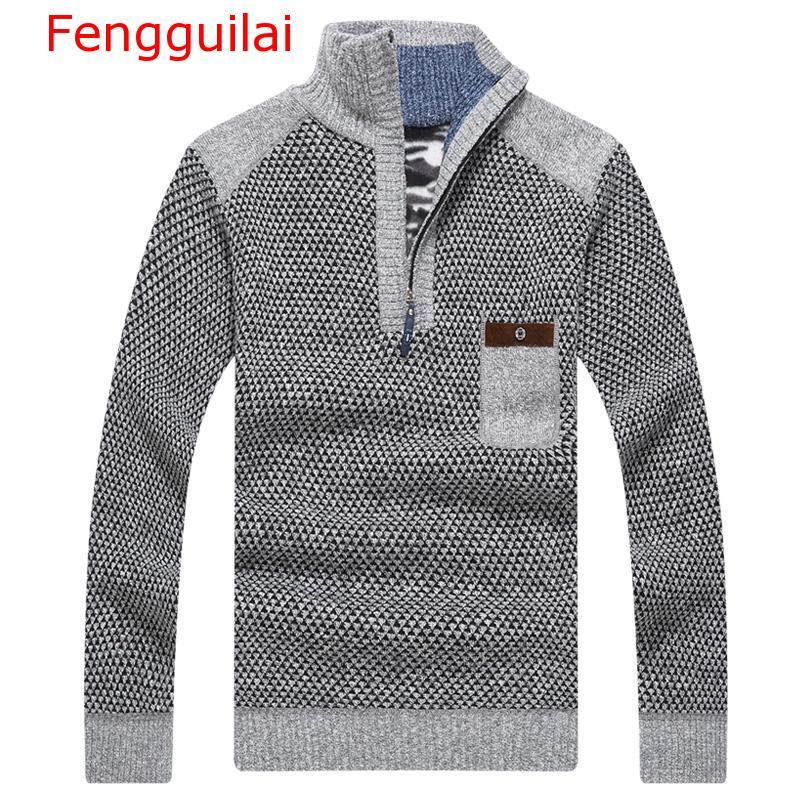 Fengguilai Warm Thick Velvet Cashmere Sweaters Men Winter Pullovers Zipper Mandarin Collar Man Casual Clothes Big Size 3XL