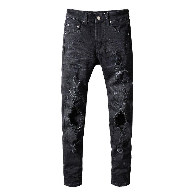 886dd601f83 Cheap Los hombres de alta calidad negro elástico pantalones vaqueros Slim  vaqueros hombres Biker Jeans hip