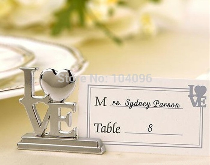 150sets lot Fashionable Design Silver Stainless Steel LOVE Style Table Wedding Place Card Holders