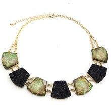 TrinketSea Multi Color ronde glanzende verklaring ketting voor vrouwen korte bib choker geometrische gesneden gouden ketting mode-sieraden