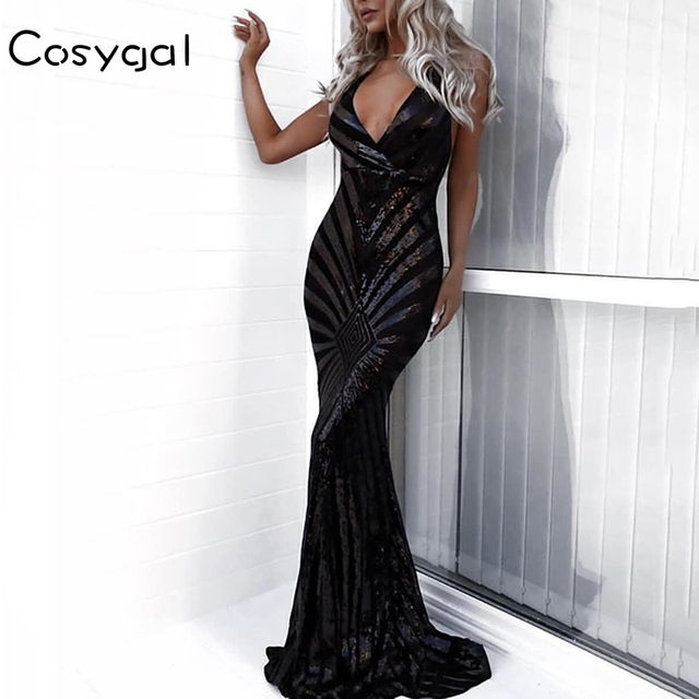 COSYGAL Summer Sequin Maxi Dress Spaghetti Strap Women V Neck Club Mermaid Party  Dress Backless Bodycon efafb7f7a254