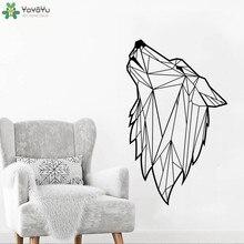High Quality Modern Geometric Wolf Animal Wall Decals For Kids Boys Bedroom Living Room Vinyl Waterproof Stickers  SYY310