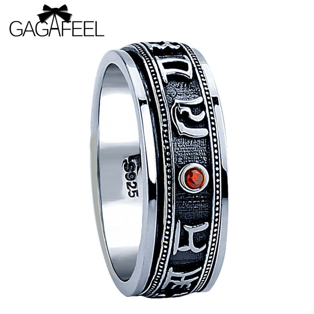 GAGAFEEL Brand 100% Pure 925 Sterling Silver  Punk Red Stone Rotatable Ring Thai Silver Men Jewelry free shipping big sizes R15