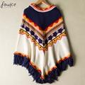 2016 Outono Inverno Camisola de Malha Batwing Borla Pullover Blusas Tops Alta Qualidade Mulheres Capes Mulheres Clothings
